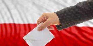 Ψηφοφόρος στο υπόβαθρο σημαιών της Πολωνίας τρισδιάστατη απεικόνιση Στοκ φωτογραφία με δικαίωμα ελεύθερης χρήσης