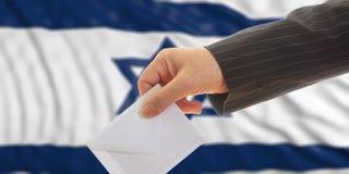 Ψηφοφόρος στο υπόβαθρο σημαιών του Ισραήλ τρισδιάστατη απεικόνιση Στοκ φωτογραφία με δικαίωμα ελεύθερης χρήσης