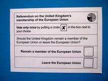 Ψηφοδέλτιο δημοψηφισμάτων της βρετανικής ΕΕ Στοκ Εικόνα