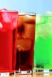 Ψηλά αφρώδη ποτά κόλας, creme σόδας και σόδας σμέουρων Στοκ Εικόνα
