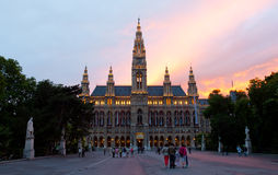 Ψηλή γοτθική οικοδόμηση της αίθουσας πόλεων της Βιέννης, Αυστρία Στοκ φωτογραφία με δικαίωμα ελεύθερης χρήσης