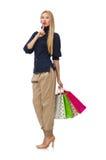 Ψηλή γυναίκα με τις πλαστικές τσάντες που απομονώνεται στο λευκό Στοκ εικόνες με δικαίωμα ελεύθερης χρήσης