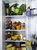 Ψυγείο που γεμίζουν ανοικτό με τα τρόφιμα στοκ εικόνες