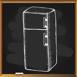Ψυγείο στον πίνακα κιμωλίας Στοκ εικόνες με δικαίωμα ελεύθερης χρήσης