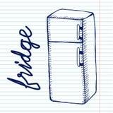 Ψυγείο στο υπόβαθρο copybook Στοκ Εικόνα