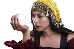 Ψυχική να εξετάσει σφαίρα κρυστάλλου Στοκ Εικόνα