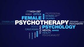 Ψυχοθεραπείας αρσενικός υψηλός καθορισμός ψυχολόγων θεραπόντων βοήθειας θεραπείας ατόμων ψυχολογίας ο θηλυκός ζωντάνεψε το σύννεφ ελεύθερη απεικόνιση δικαιώματος