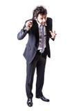 Ψυχο επιχειρηματίας με το μεγάλο ξυράφι Στοκ φωτογραφία με δικαίωμα ελεύθερης χρήσης