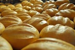 Ψωμί αρτοποιών Εγκαταστάσεις αρτοποιείων Παραγωγή του ψωμιού Φρέσκο άσπρο ψωμί από το φούρνο Στοκ Εικόνα