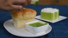 Ψωμί και επιδόρπιο, εύγευστος ορεκτικός απόθεμα βίντεο