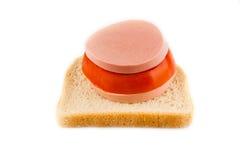 Ψωμί, λουκάνικο και ντομάτα Στοκ Εικόνα