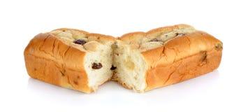 Ψωμί με τη σταφίδα που απομονώνεται στο άσπρο υπόβαθρο Στοκ εικόνες με δικαίωμα ελεύθερης χρήσης