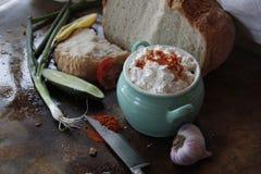 Ψωμί με το κρεμμύδι κάποιο τυρί εξοχικών σπιτιών Στοκ φωτογραφία με δικαίωμα ελεύθερης χρήσης