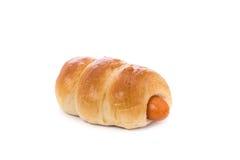 Ψωμί με το λουκάνικο beeing έννοιας λευκό τεχνολογίας συνδέσμων απομονωμένο εστίαση καλυμμένο στούντιο Στοκ φωτογραφία με δικαίωμα ελεύθερης χρήσης
