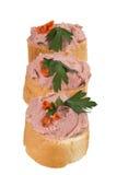 Ψωμί με το πατέ και χορτάρια σε ένα άσπρο υπόβαθρο Στοκ Εικόνες