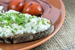 Ψωμί με το τυρί κρέμας και το κάρδαμο κήπων Στοκ Φωτογραφία