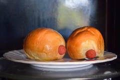 Ψωμί λουκάνικων στο χαμηλό φως DOF μικροκυμάτων στοκ εικόνες