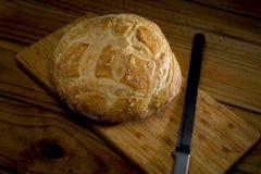 ψωμί χαρτονιών που κόβει το φρέσκο απομονωμένο λευκό Στοκ Φωτογραφίες