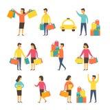 Ψωνίζοντας άνθρωποι με τις τσάντες επίσης corel σύρετε το διάνυσμα απεικόνισης Στοκ Εικόνες