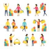 Ψωνίζοντας άνθρωποι με τις τσάντες επίσης corel σύρετε το διάνυσμα απεικόνισης Στοκ Φωτογραφία