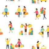 Ψωνίζοντας άνθρωποι με τις τσάντες επίσης corel σύρετε το διάνυσμα απεικόνισης Στοκ Φωτογραφίες