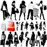 ψωνίζοντας διανυσματικές γυναίκες λεπτομέρειας ενδυμάτων Στοκ Εικόνες