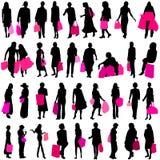 ψωνίζοντας διανυσματικές γυναίκες Στοκ Φωτογραφίες