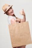 ψωνίζοντας χαμογελώντας γυναίκα τσαντών στοκ εικόνες