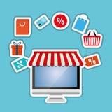 Ψωνίζοντας on-line και σχέδιο υπολογιστών, διανυσματική απεικόνιση, διανυσματική απεικόνιση Στοκ φωτογραφία με δικαίωμα ελεύθερης χρήσης