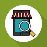Ψωνίζοντας on-line και σχέδιο smartphone, διανυσματική απεικόνιση, διανυσματική απεικόνιση Στοκ εικόνα με δικαίωμα ελεύθερης χρήσης