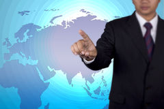 Ωθώντας κενό αφής έννοιας επιχειρηματιών Στοκ Εικόνες