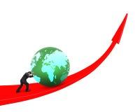 Ωθώντας σφαίρα επιχειρηματιών πρός τα πάνω στην κόκκινη γραμμή τάσης Στοκ εικόνα με δικαίωμα ελεύθερης χρήσης
