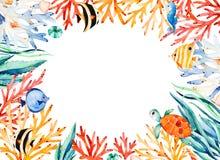 Ωκεάνεια σύνορα πλαισίων watercolor με τη χαριτωμένη χελώνα, φύκι, κοραλλιογενής ύφαλος, ψάρια, seahorse απεικόνιση αποθεμάτων