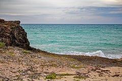 Ωκεάνια άποψη στο φραγμό και τα κάγκελα Lenny στους κοκοφοίνικες Cayo, Κούβα στοκ φωτογραφία