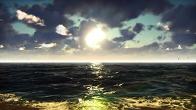 Ωκεάνια άποψη σχετικά με τη συμπαθητική ανατολή Διακοπές θάλασσας, φύση, θέρετρο Το όμορφο καλοκαίρι περιτυλίχτηκε υπόβαθρο απεικόνιση αποθεμάτων