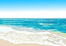Ωκεάνια ακτή, παραλία, διάνυσμα διανυσματική απεικόνιση