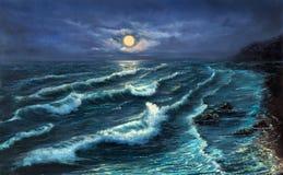 Ωκεάνια ακτή τη νύχτα στοκ εικόνες με δικαίωμα ελεύθερης χρήσης