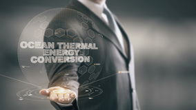 Ωκεάνια θερμική ενεργειακή μετατροπή με την έννοια επιχειρηματιών ολογραμμάτων διανυσματική απεικόνιση