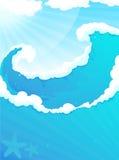 ωκεάνια κύματα κυμάτων πρώτου πλάνου εστίασης διανυσματική απεικόνιση