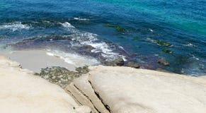 Ωκεάνια κύματα στην ακτή της παραλίας και των βράχων Στοκ εικόνα με δικαίωμα ελεύθερης χρήσης