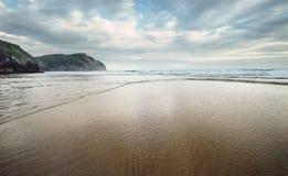 Ωκεάνια κύματα στην παραλία άμμου Στοκ Εικόνες