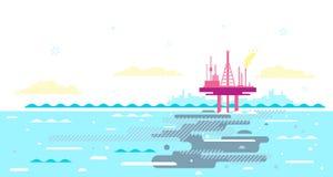 Ωκεάνια ρύπανση από τη πλατφόρμα πετρελαίου διανυσματική απεικόνιση