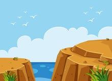 Ωκεάνια σκηνή με τον απότομο βράχο στο χρόνο ημέρας διανυσματική απεικόνιση
