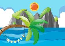 Ωκεάνια σκηνή με το δέντρο και τον ήλιο απεικόνιση αποθεμάτων