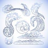 Ωκεάνια συλλογή κυμάτων διανυσματική απεικόνιση