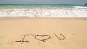 Ωκεάνιες λέξεις προσέγγισης κυμάτων που γράφονται σ' αγαπώ στην άμμο στην παραλία απόθεμα βίντεο