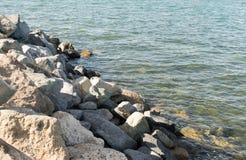 Ωκεάνιοι κυματισμοί κοντά στη δύσκολη ακτή Στοκ φωτογραφία με δικαίωμα ελεύθερης χρήσης