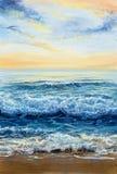 Ωκεάνιοι κύματα και ουρανός Στοκ Φωτογραφία