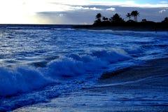 Ωκεάνιοι ουρανός νησιών κυμάτων και φοίνικες σύννεφων Στοκ Εικόνα