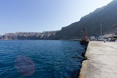 Ωκεάνιος λιμένας σε Santorini Ελλάδα στοκ εικόνες